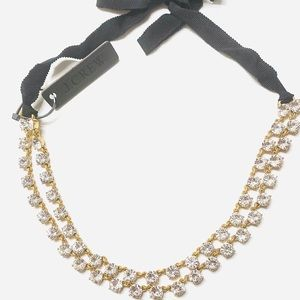 NWT J. Crew Layered Crystal Ribbon Tie Necklace